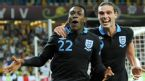 Danny Welbeck and Andy Carroll celebrate the winner, Sweden v England, Olympic Stadium, Kyiv, Ukraine, June 15, 2012
