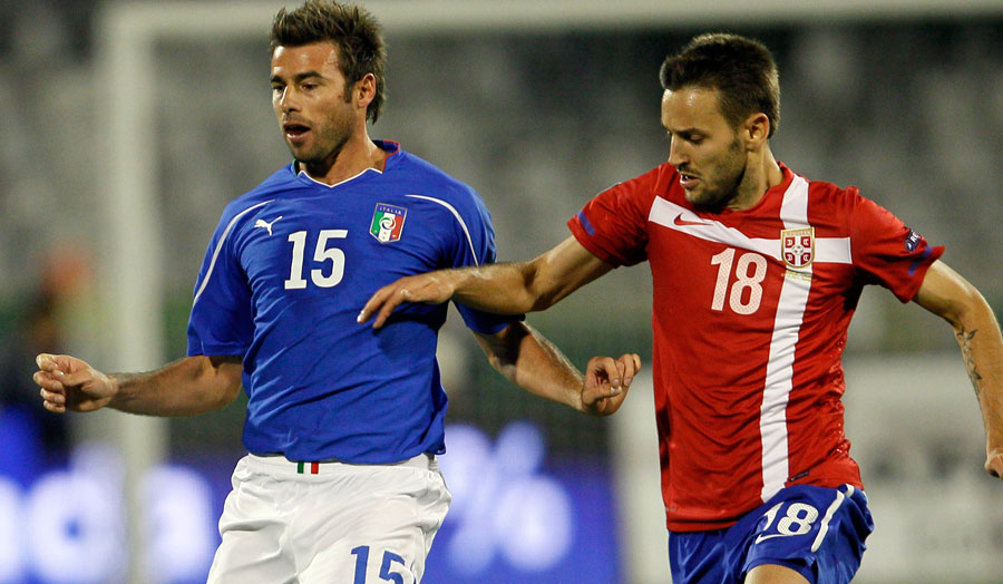 Andrea Barzagli in action for Italy against Serbia