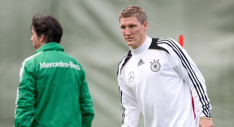 Bastian Schweinsteiger takes part in Germany training