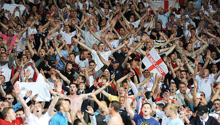 England fans in full voice in the game against Sweden
