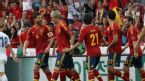 Fernando Torres celebrates scoring for Spain against South Korea, Spain v South Korea, international friendly, Stade de Suisse stadium, May 30, 2012