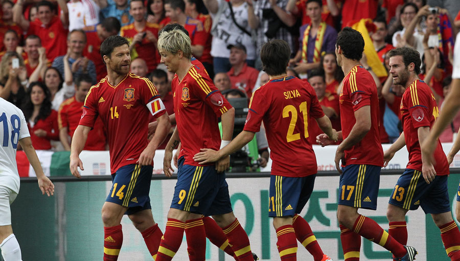 Fernando Torres celebrates scoring for Spain against South Korea