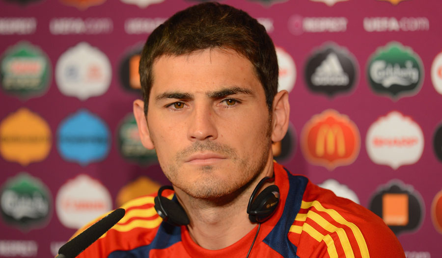 Iker Casillas fields questions at a press conference