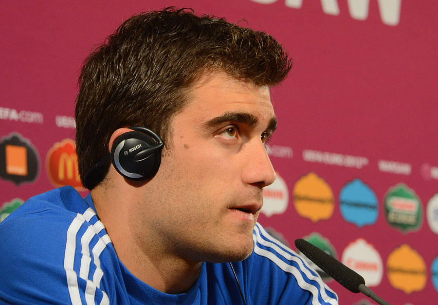 Sokratis Papastathopoulos fields question in a pre-match press conference