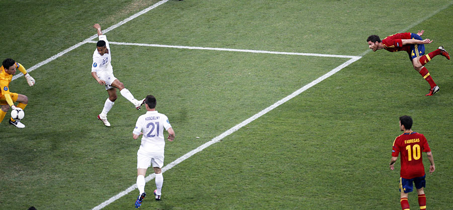 Xabi Alonso heads home his first goal against France