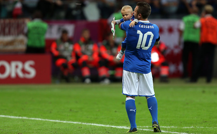 Antonio Cassano celebrates post-match against Germany