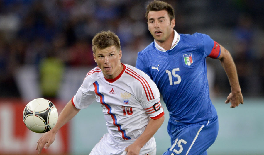 Andrea Barzagli and Andrei Arshavin Italy v Russia