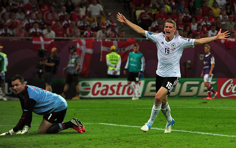 Germany's Lars Bender celebrates scoring his team's second goal
