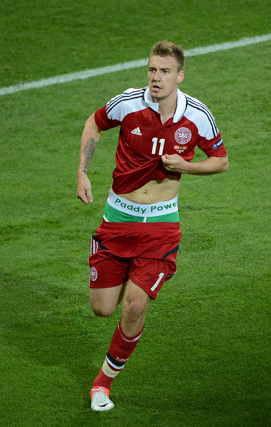 Bendtner wears branded underpants against Portugal