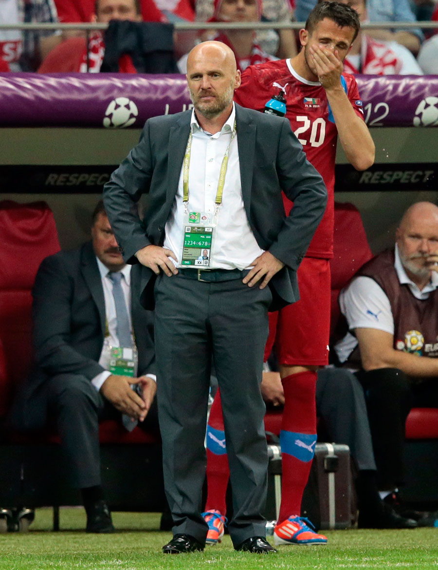 Czech head coach Michal Bilek reacts after his team lost