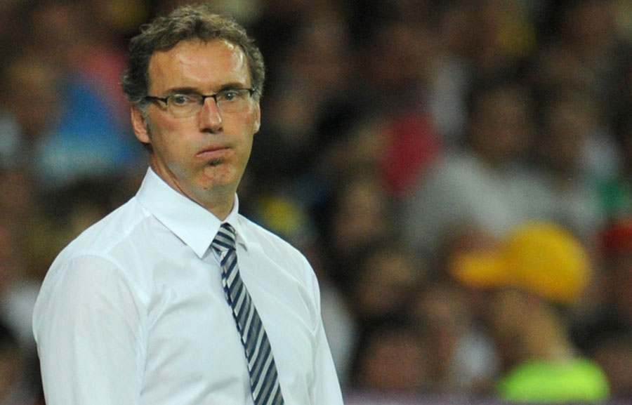 Laurent Blanc looks on angrily during France's defeat to Spain