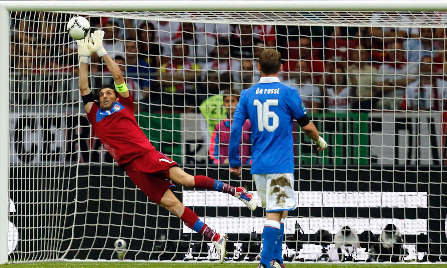 Italy goalkeeper Gianluigi Buffon makes a save