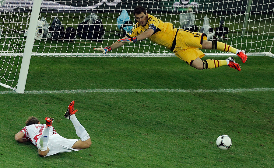 Croatia's big chance: Iker Casillas saves Ivan Rakitic's header