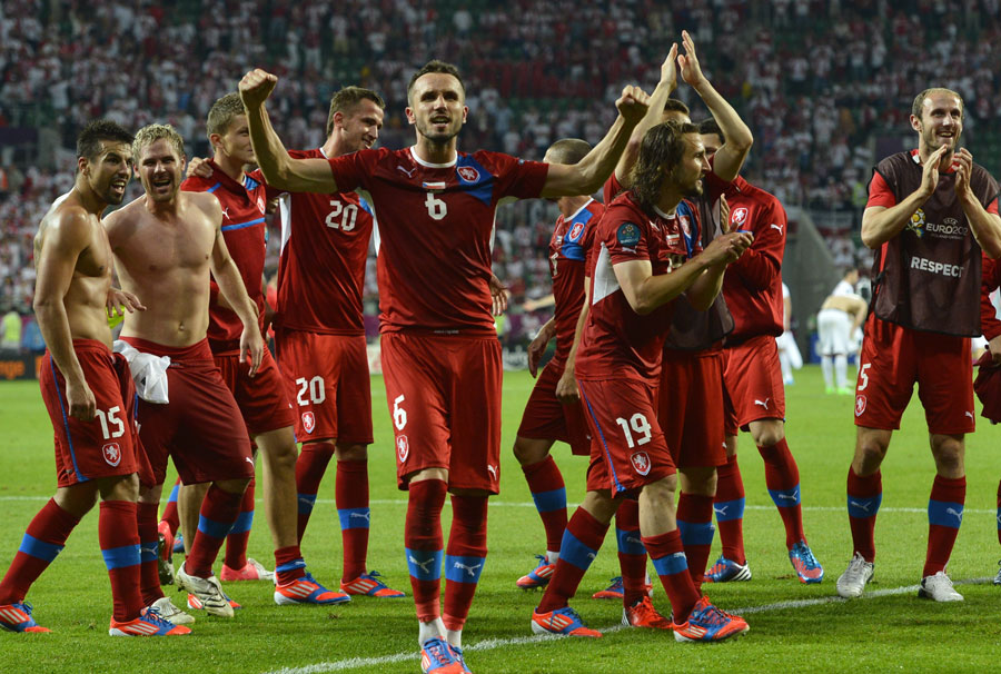 Czech players celebrate at the end of the game