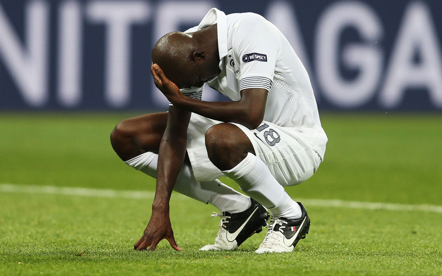 Alou Diarra of France looks dejected after the final whistle