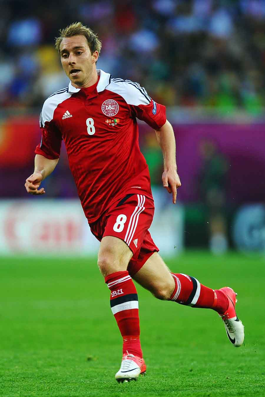Christian Eriksen of Denmark in action against Portugal