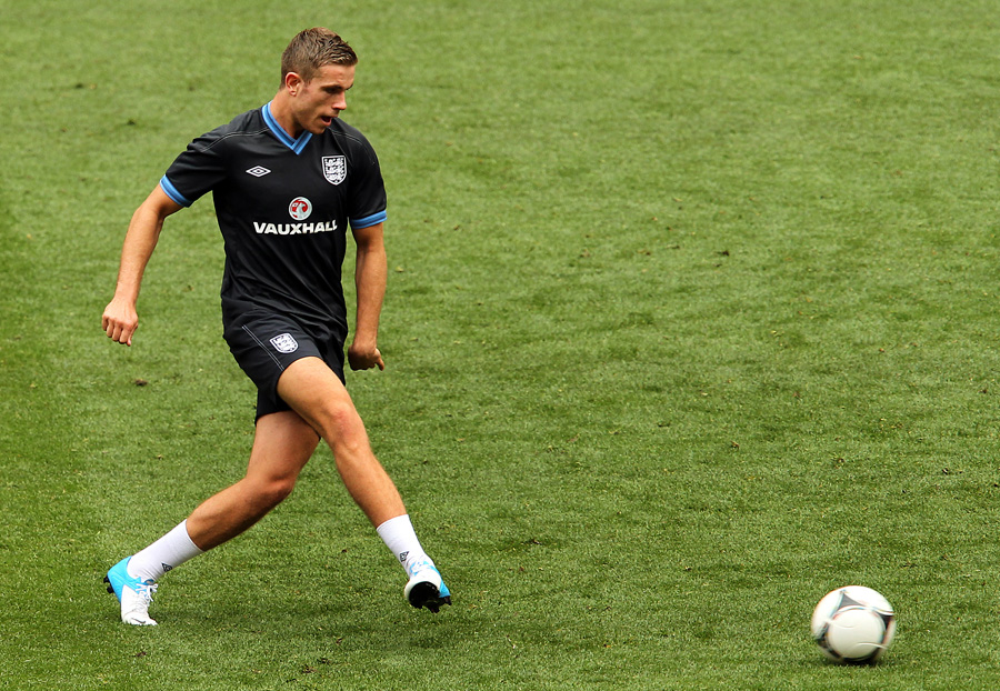 Henderson in England training at Wembley