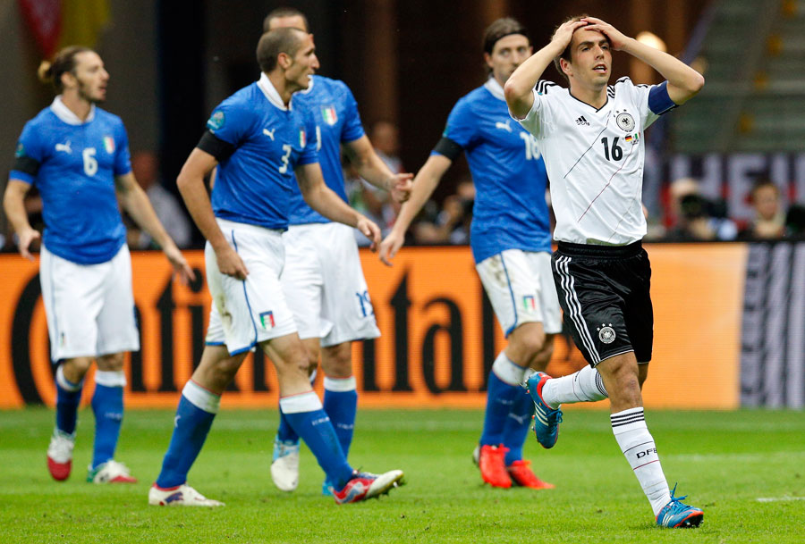 Germany's Philipp Lahm reacts after missing a chance to get his side back into it