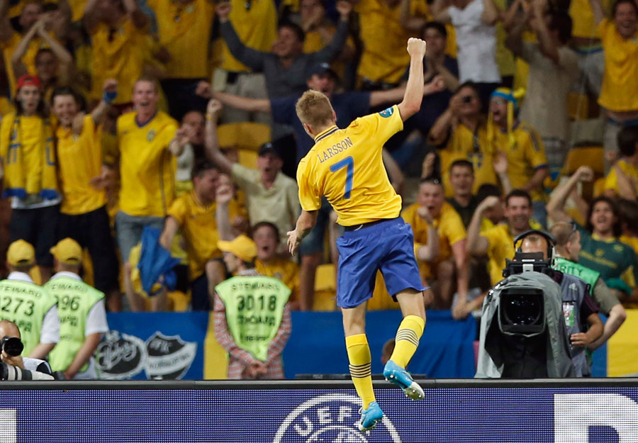 Sweden's Sebastian Larsson celebrates after he scored