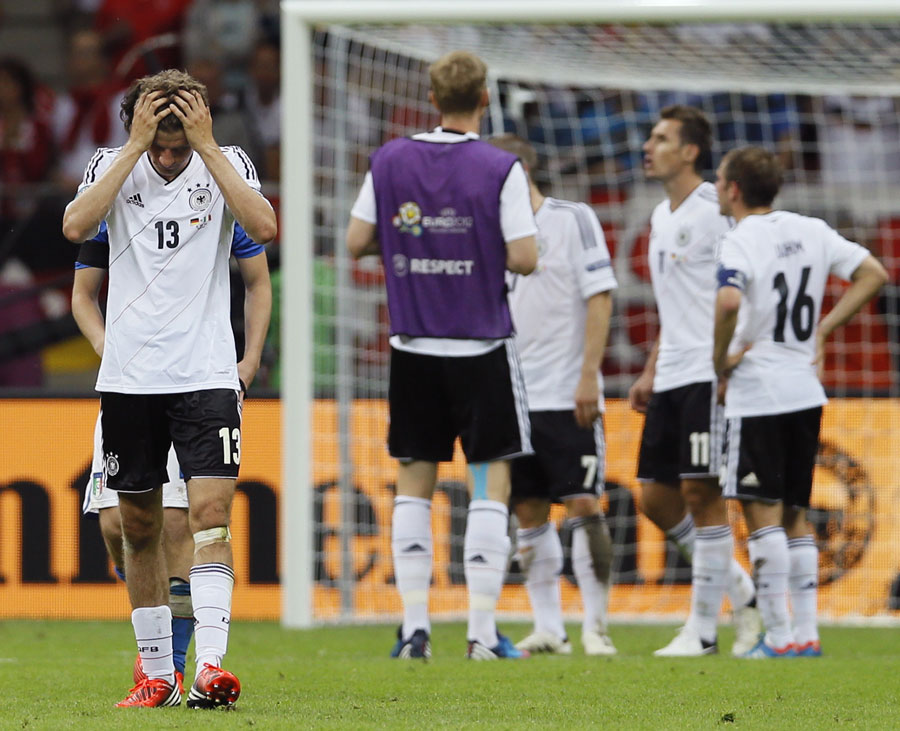 Thomas Muller shows his frustration after Germany's exit