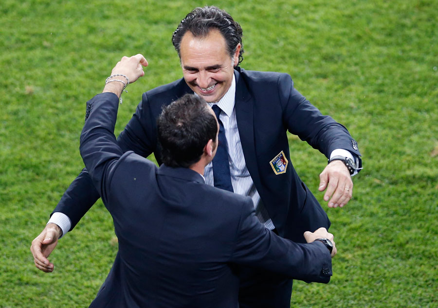 Italy coach Cesare Prandelli celebrates at the end of the game