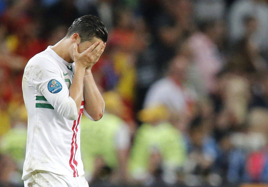Cristiano Ronaldo reacts to Portugal's defeat