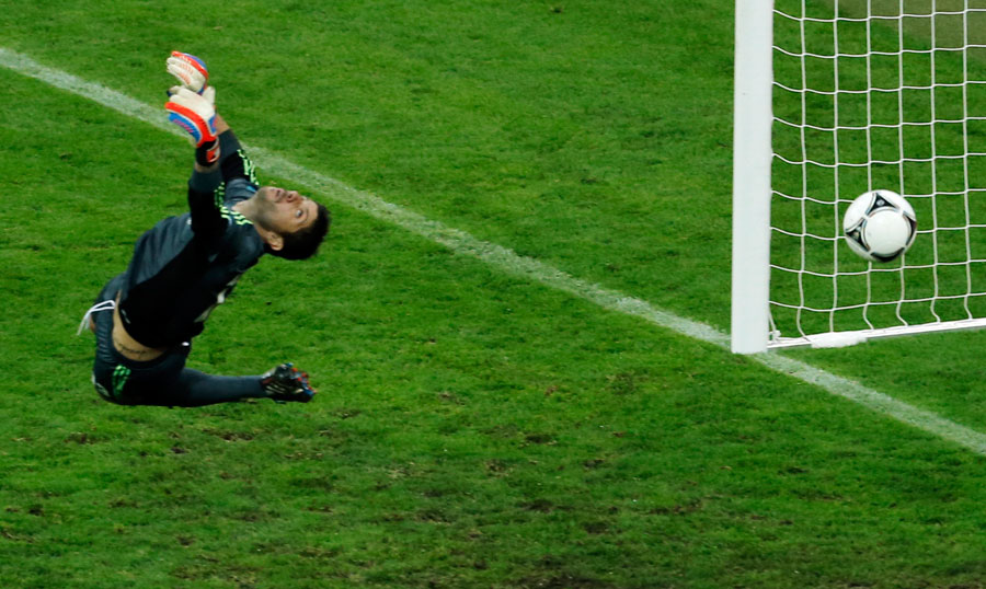 Greece goalkeeper Michalis Sifakis fails to make a save as Germany's Philipp Lahm scores
