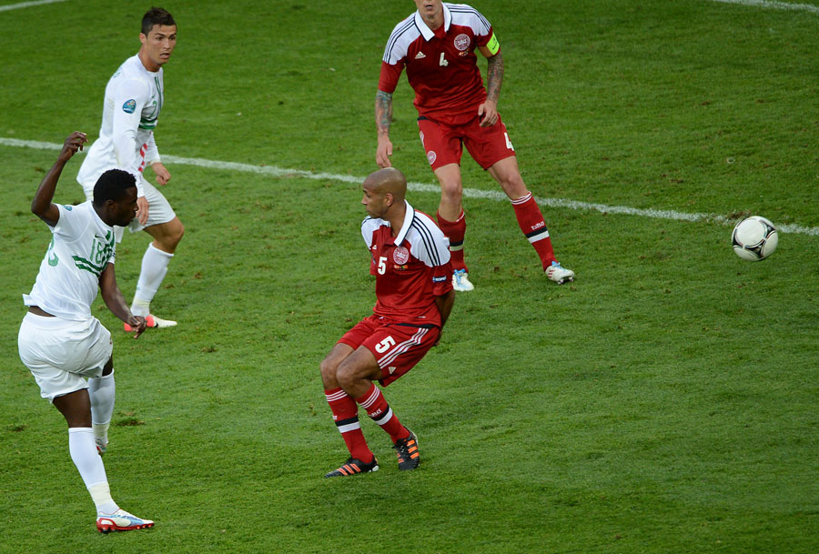 Portuguese forward Silvestre Varela scores the winner against Denmark